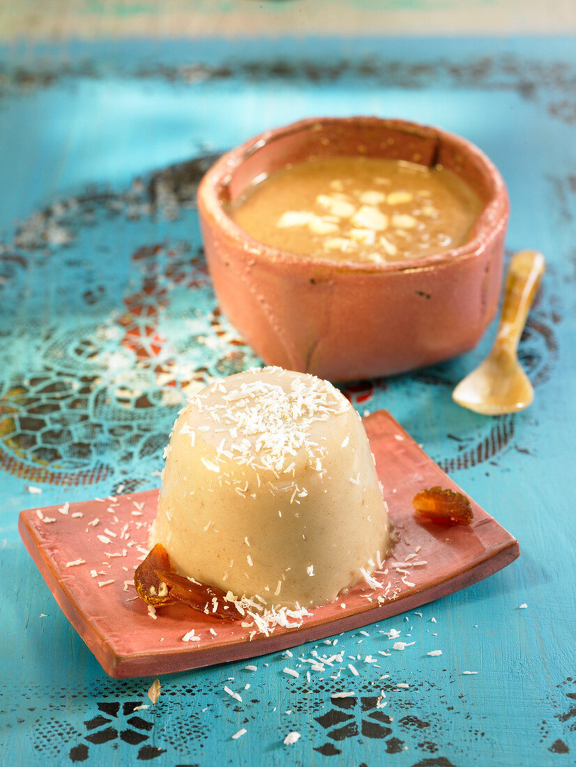 Almond and date Flan sprinkled with coconut