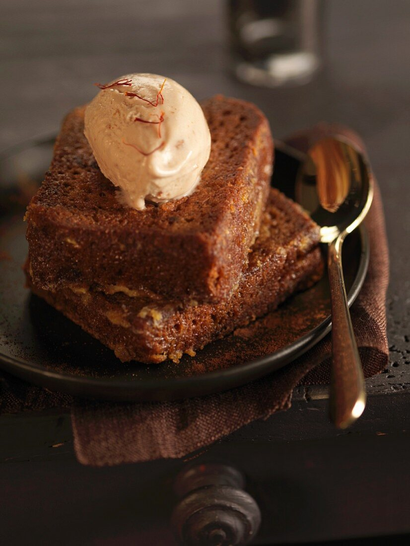 French toast-style gingerbread with a scoop of honey ice cream