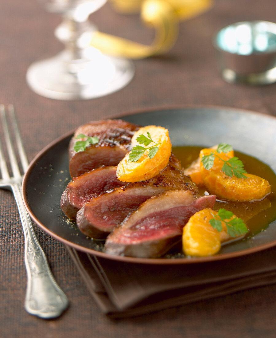 Duck Magret with mandarin oranges