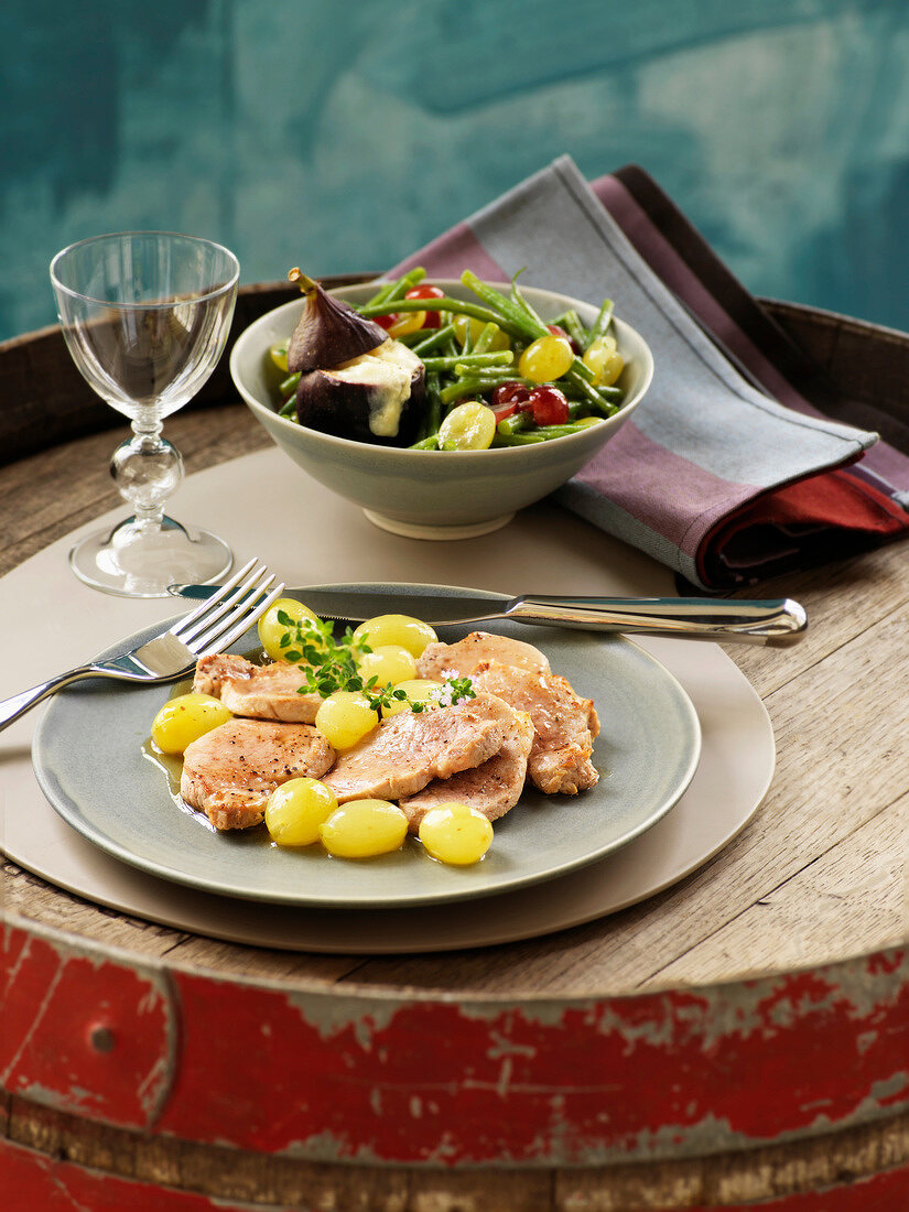 Pork filet mignon with grapes and honey,green bean,grape and fig salad