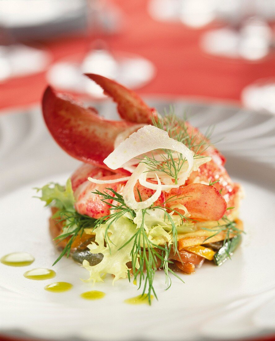 Pan-fried vegetables with lobster