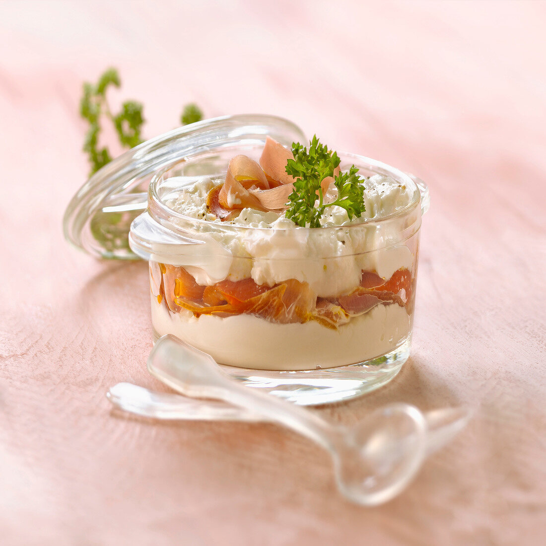 Cream cheese with grilled peppers and Speck des Dolomites casserole