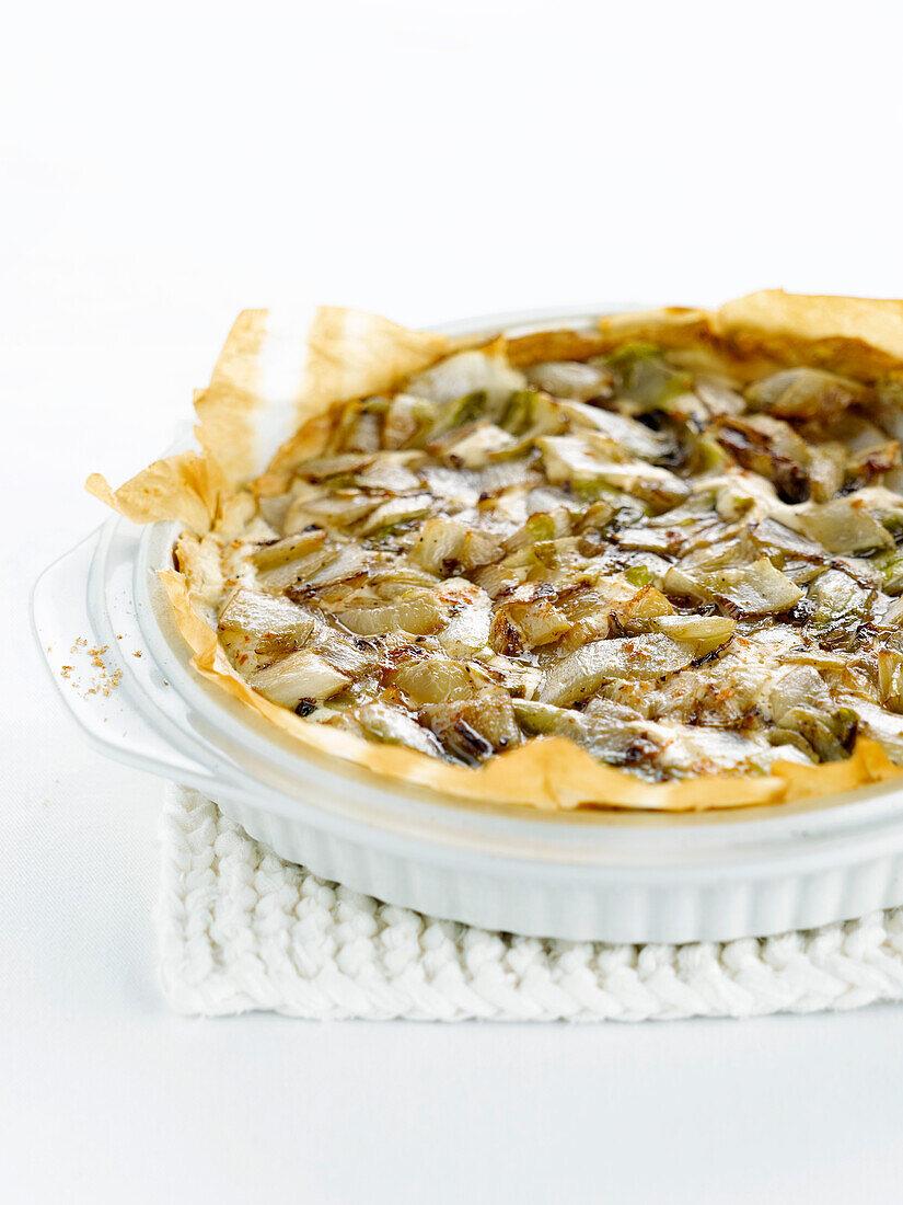 Chicory,tofu and nutmeg tart