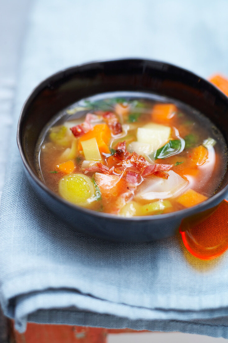 Vegetable and streaky bacon soup