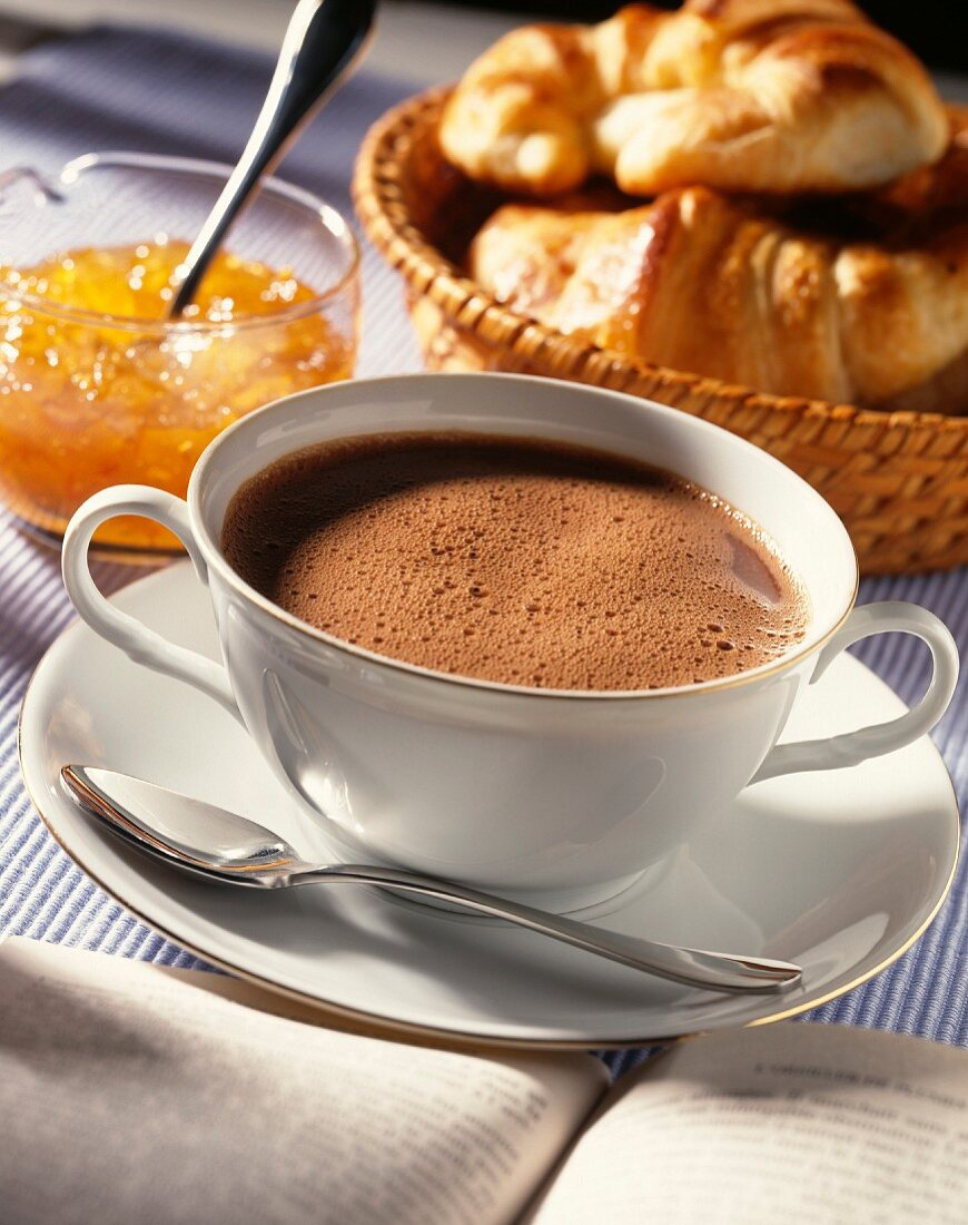 Cup of hot chocolate,croissants and jam