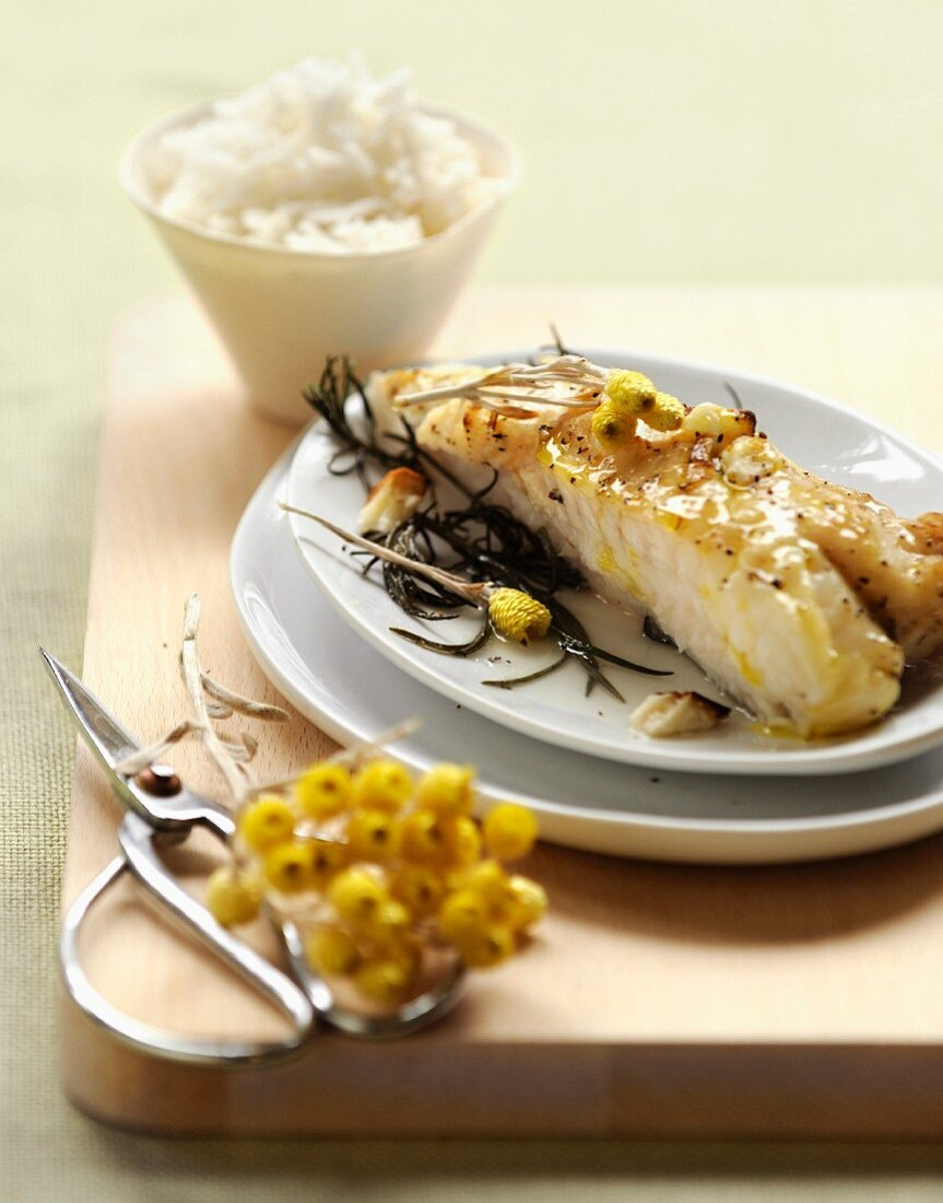 Roast monkfish with everlasting