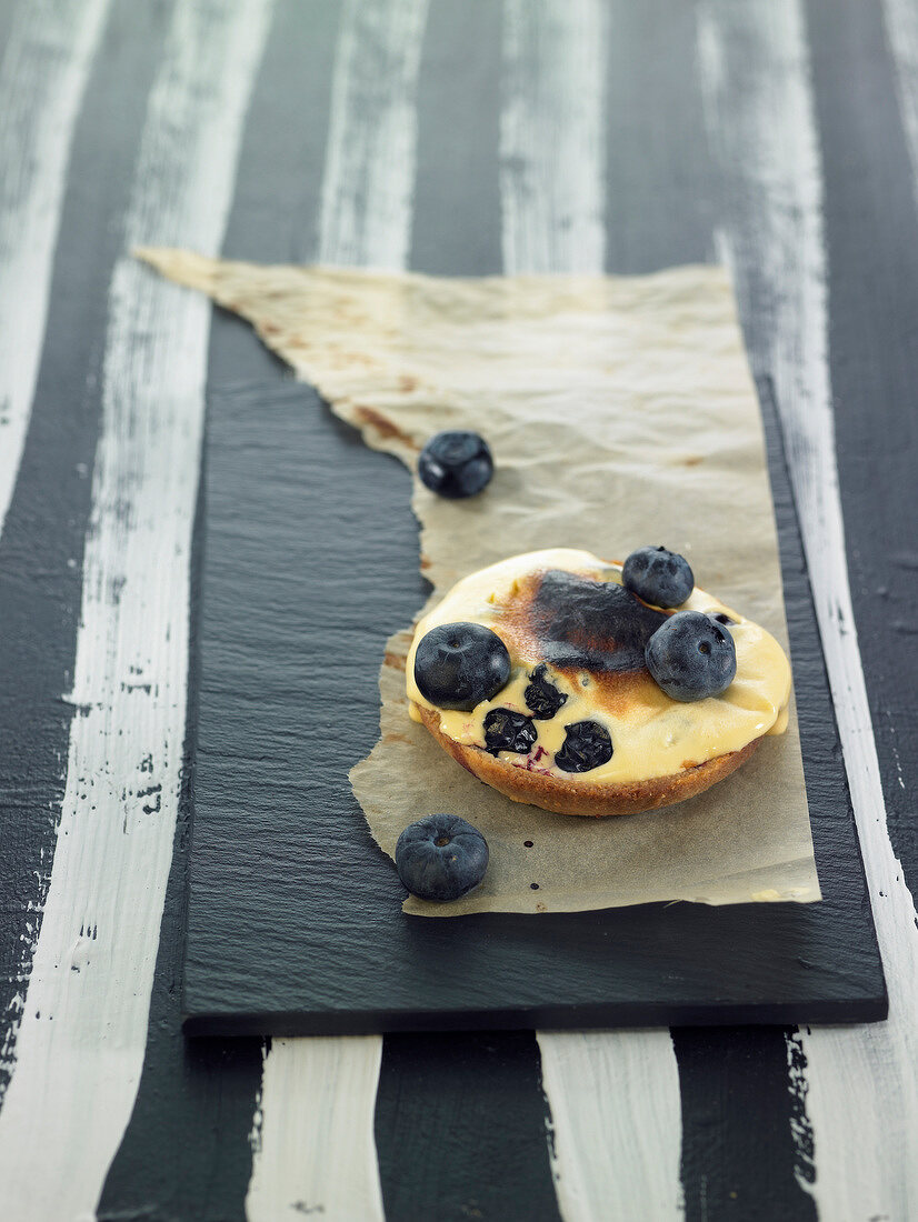 Prune zabaglione on shortbread pastry