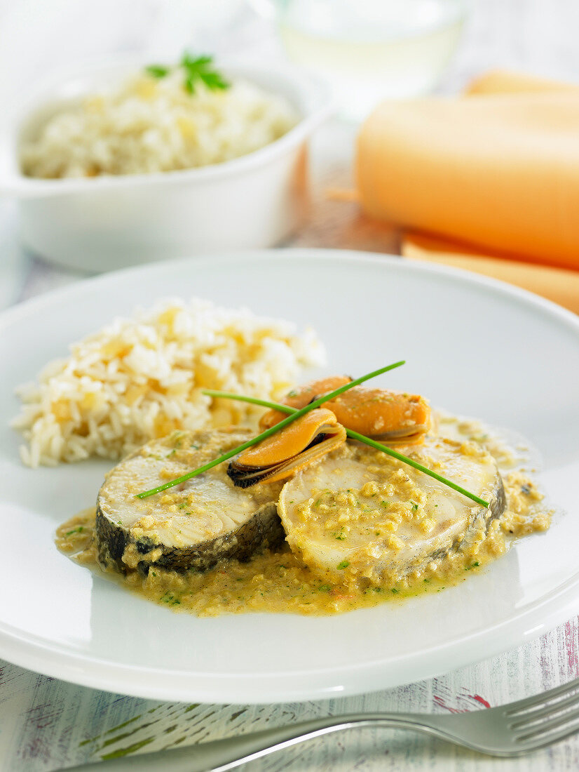 Cod with mussel sauce and basmati rice
