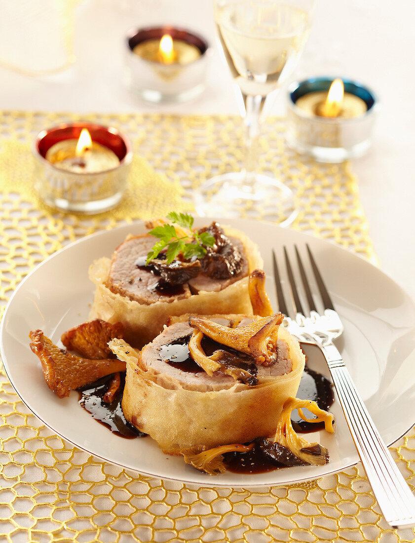 Crisp filet mignon with balsamic vinegar