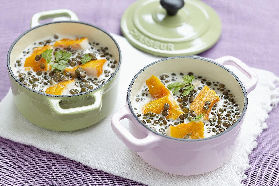 Lentil and haddock creamy casserole