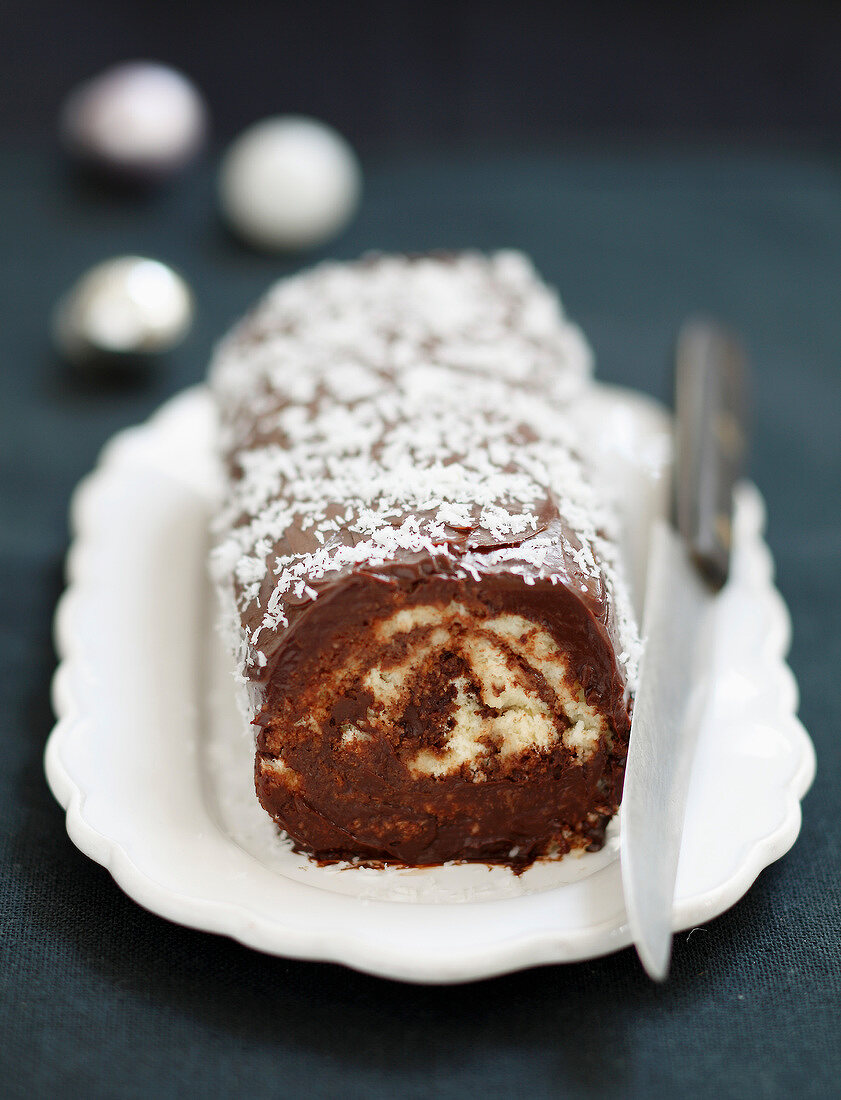 Chocolate and coconut rolled log cake