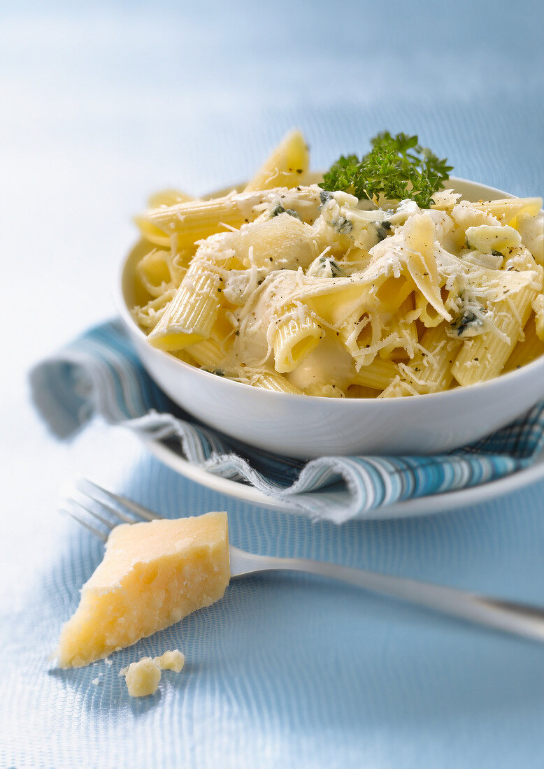Penne with four cheeses