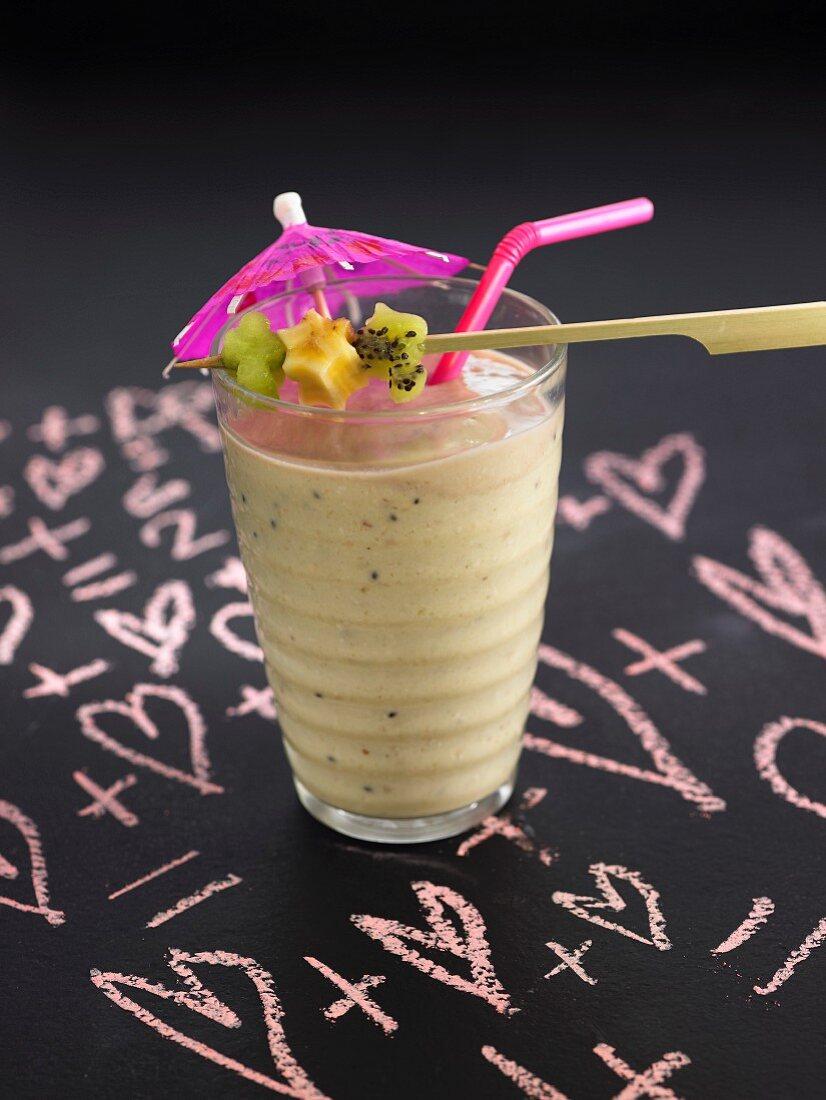 Banana, kiwi, honeydew melon, date and oat milk shake