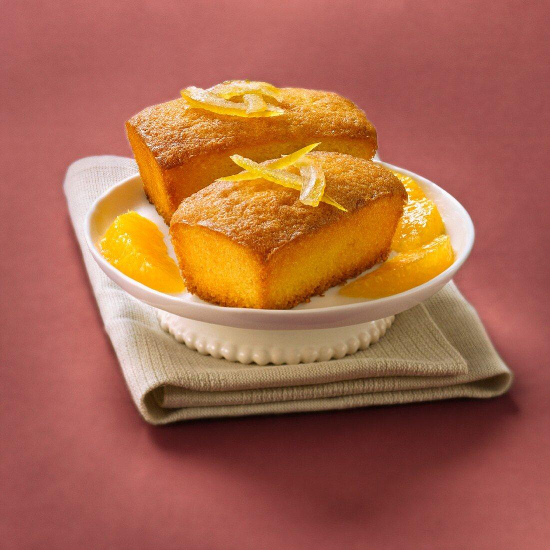 Small orange sponge cakes