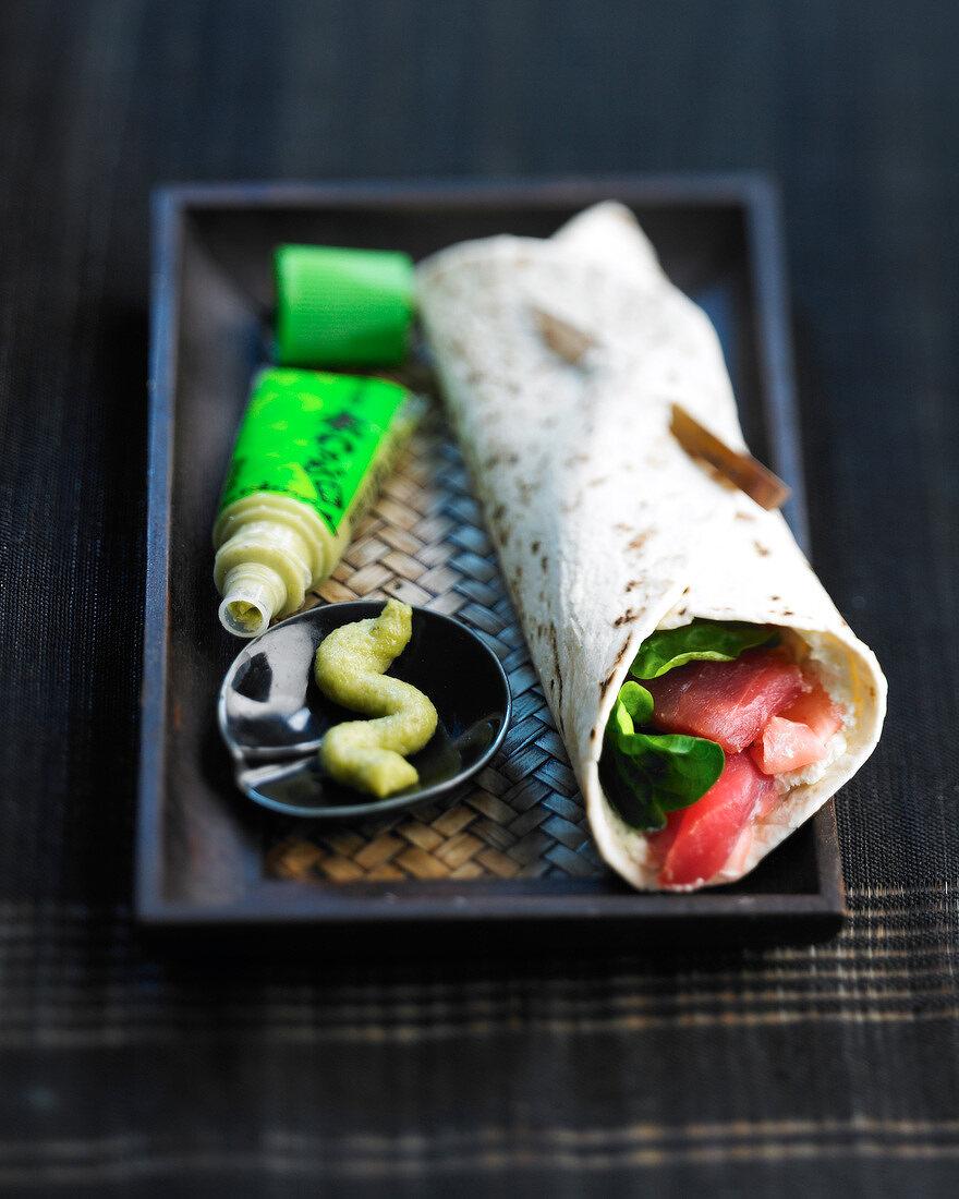 Raw tuna and wasabi wrap