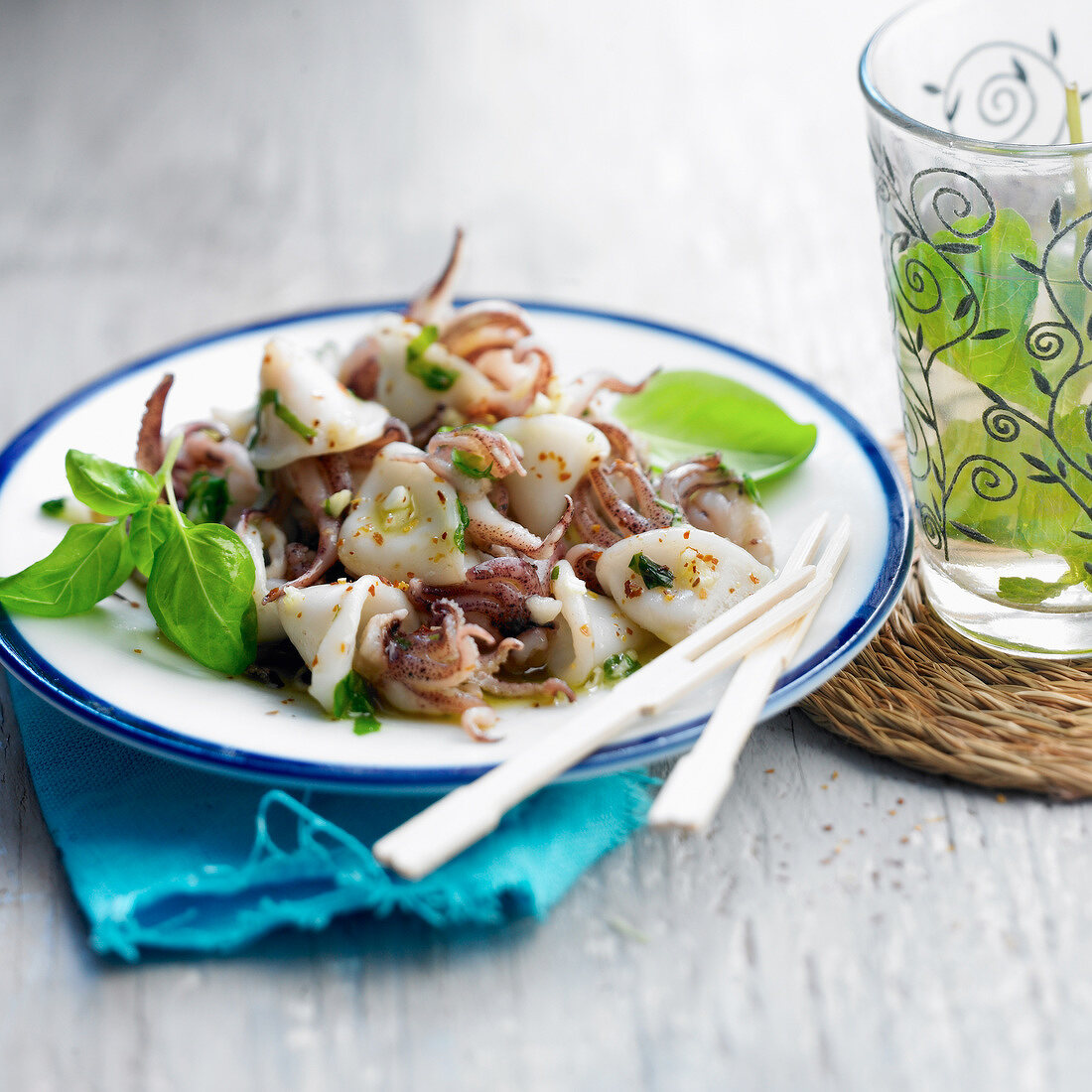 Squid with basil and garlic