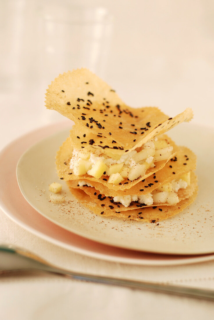 Pear,Brousse cheese,honey,nutmeg and pepper crisp filo pastry Mille-feuille