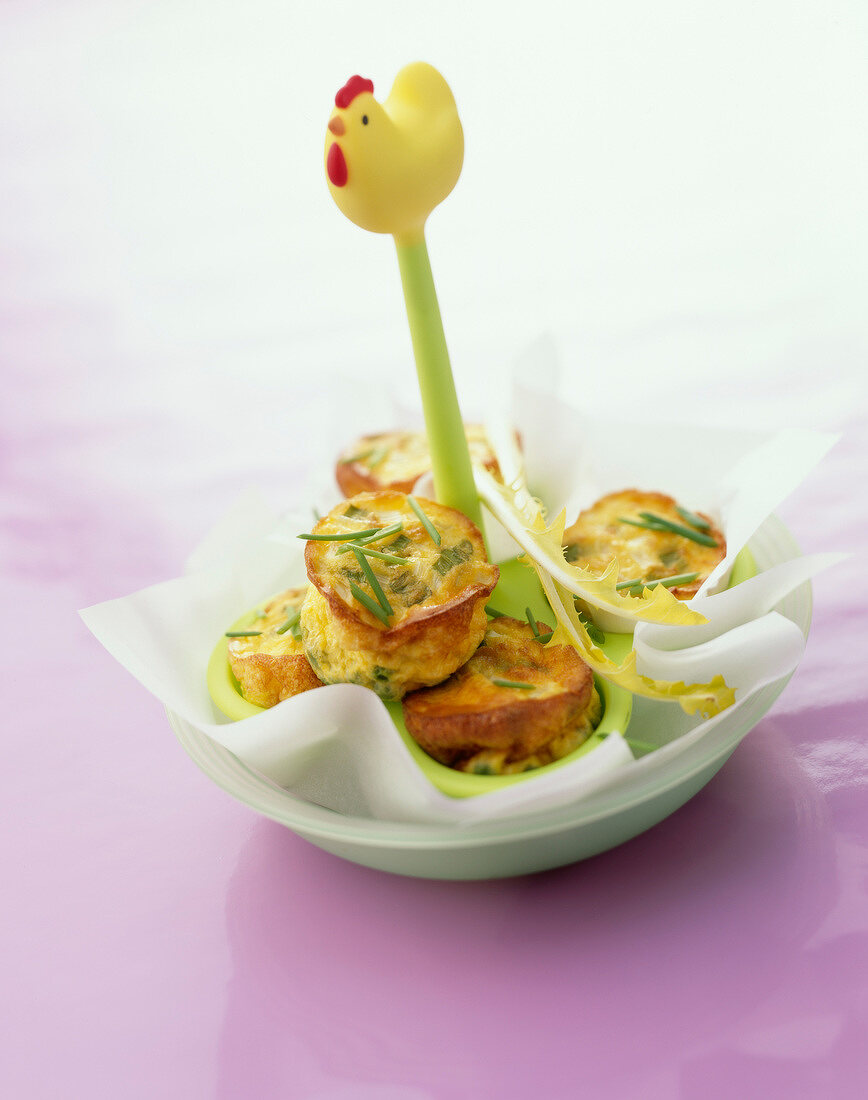 Asparagus and chive mini Flans