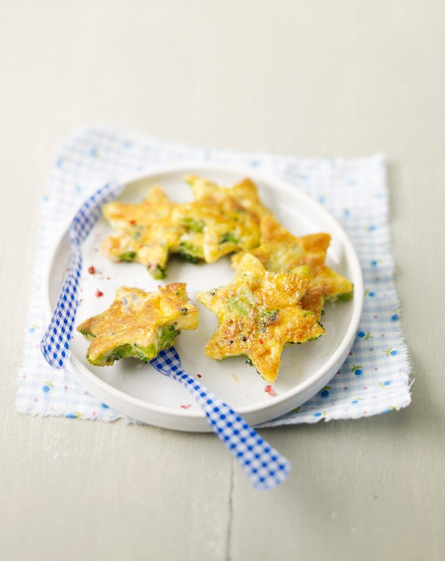 Star-shaped broccoli omelette appetizers