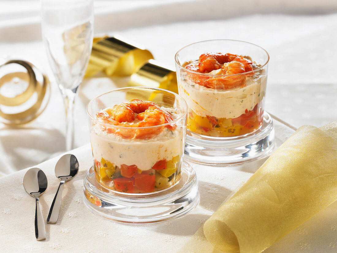 Vegetable,cheese mousse and gambas Verrines
