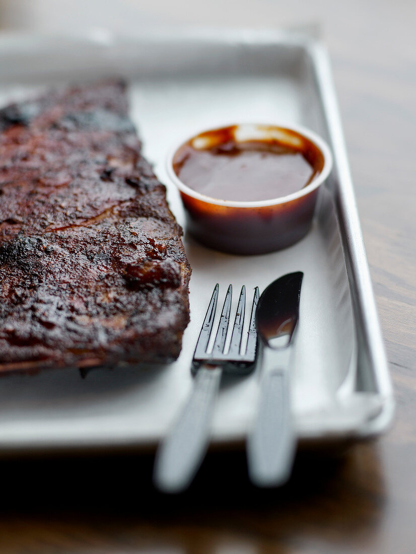 Smoked pork spare ribs from Smoque BBQ 's restaurant