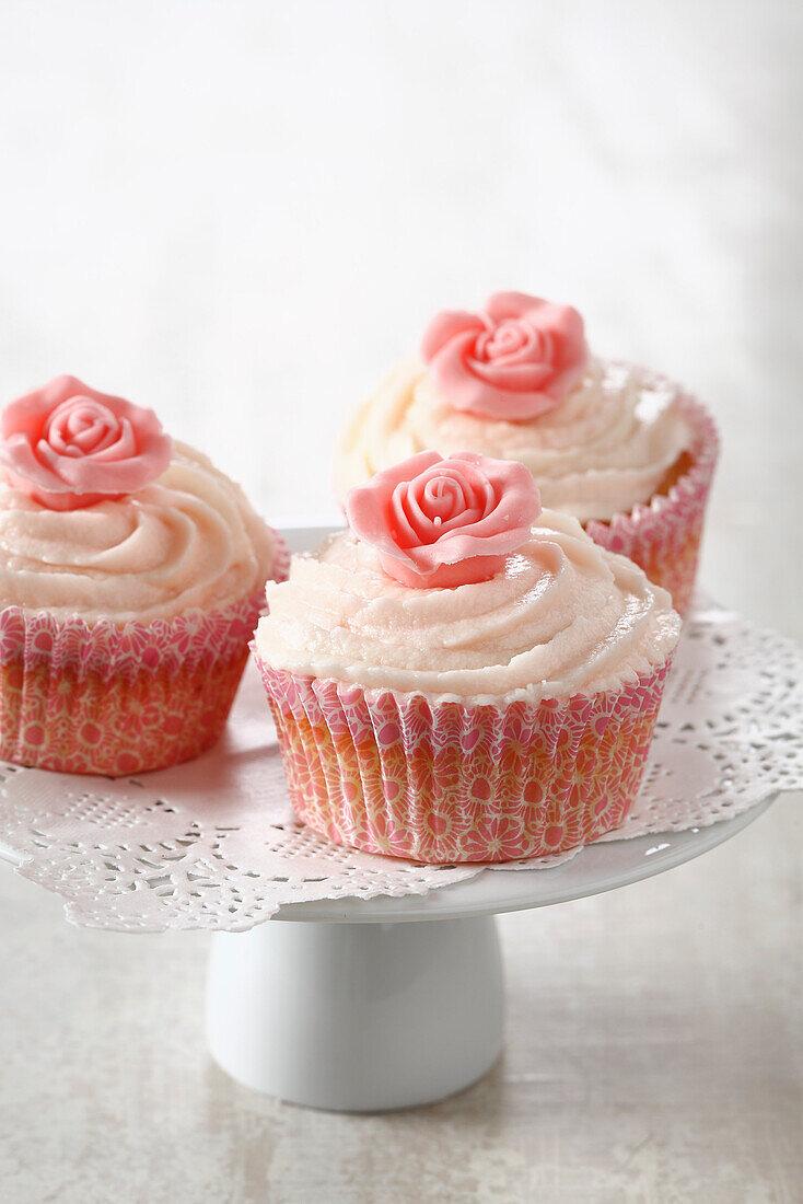 Rose and vanilla cupcakes