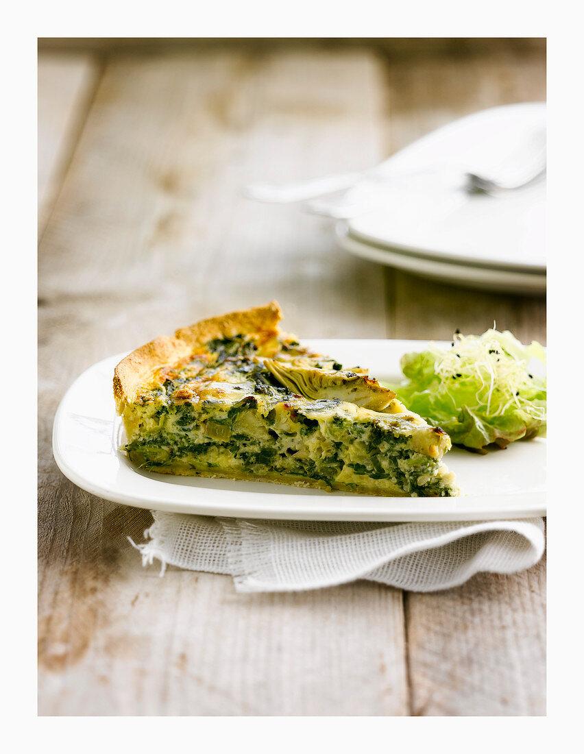 Artichoke and spinach quiche