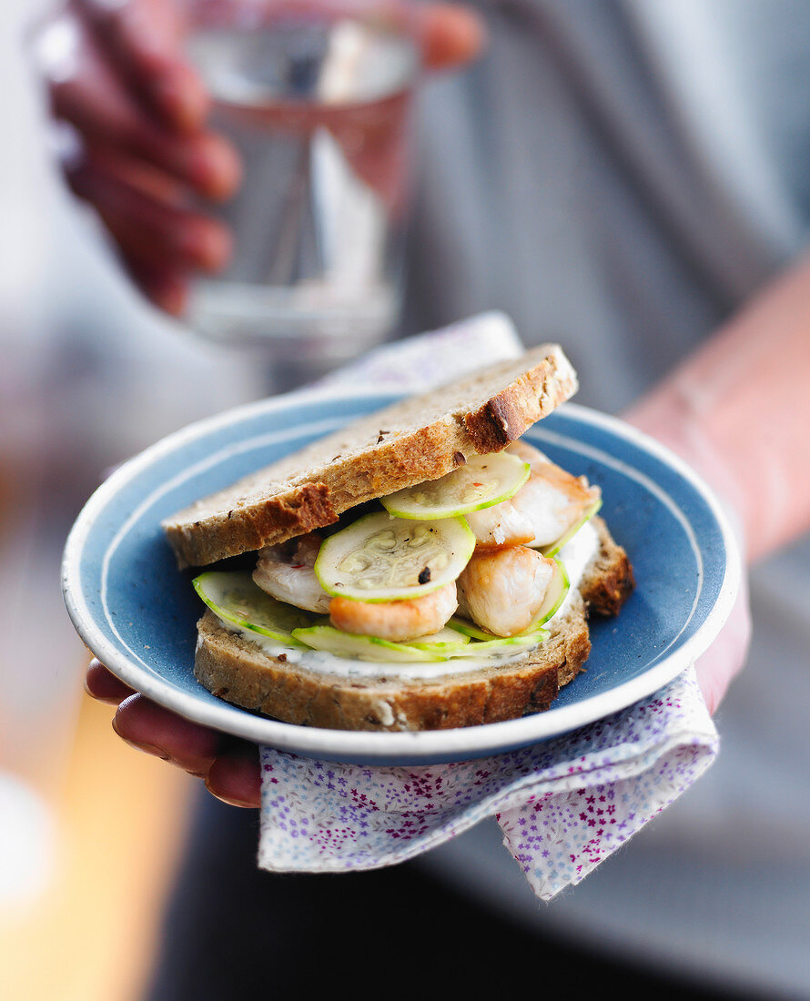 Chicken and cucumber brown bread sandwich