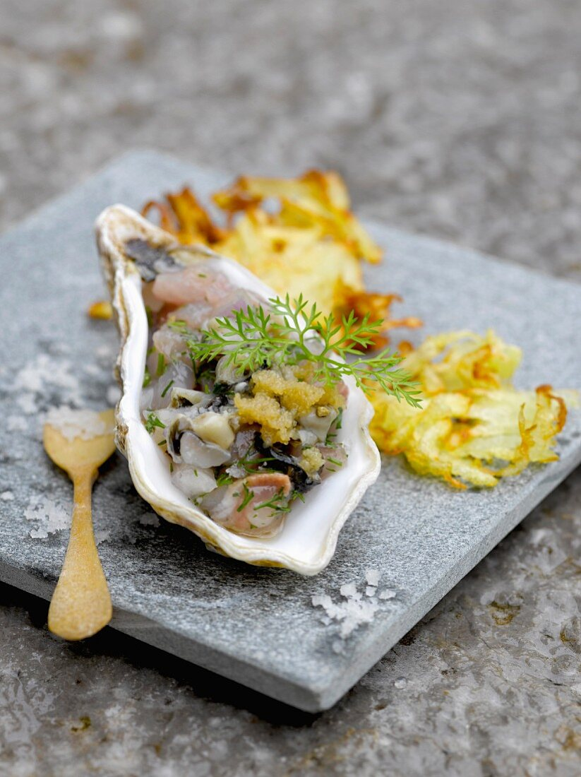 Horse mackerel and oyster tartare