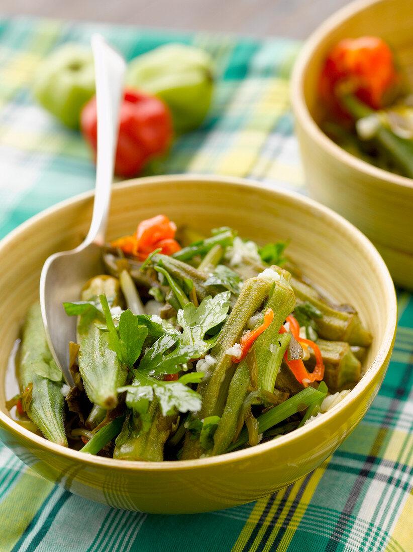 Okra and chili pepper salad