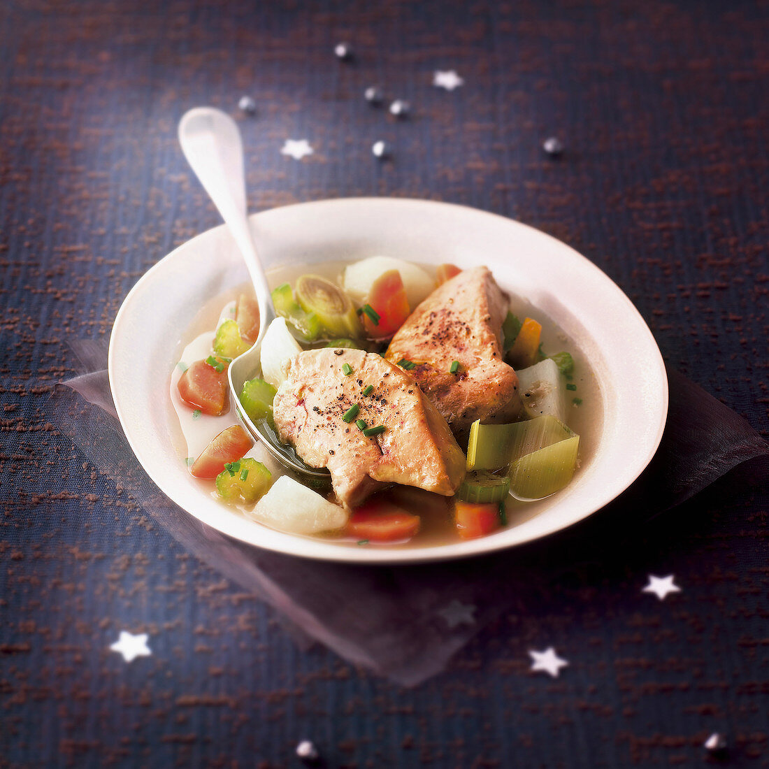 Vegetable stew with foie gras