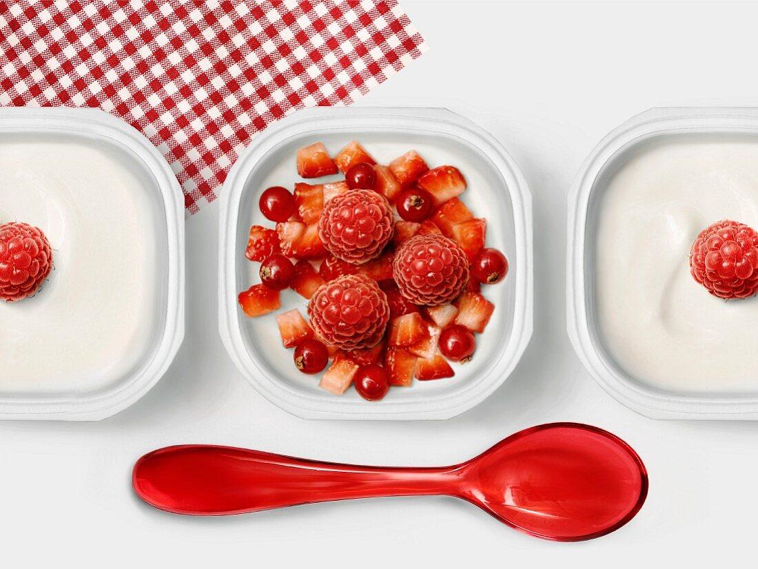 Summer fruit in a pot of yoghurt