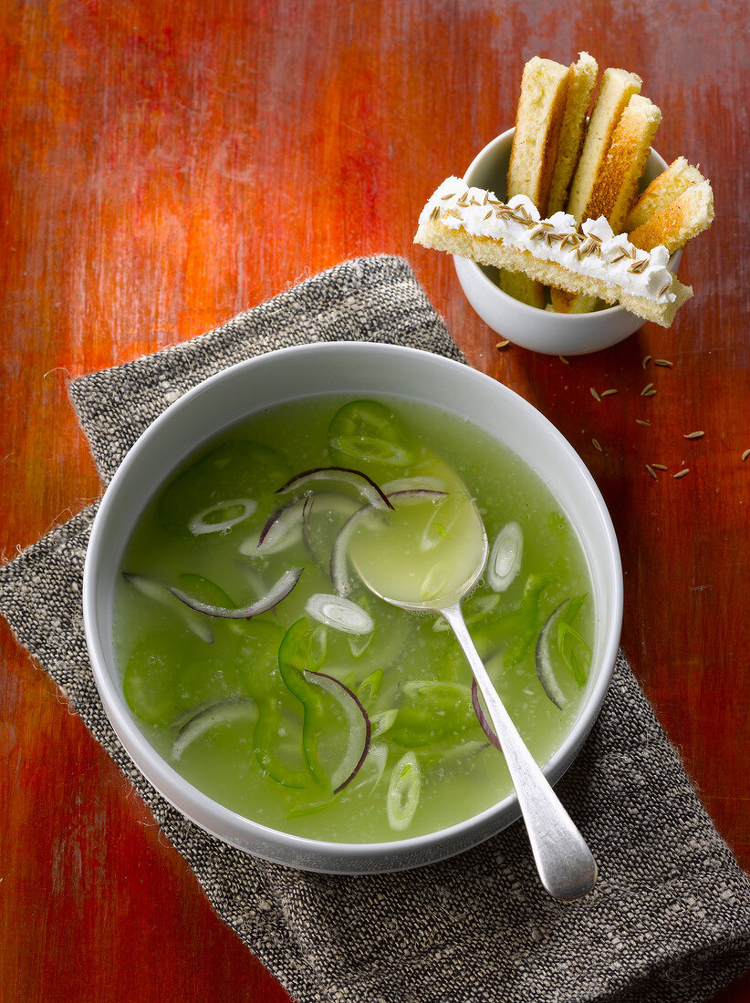 Cold red onion and cucumber soup