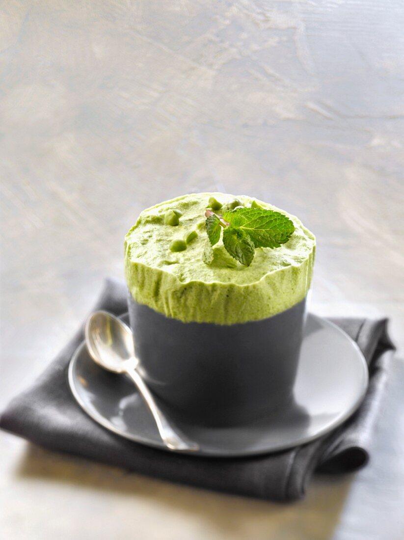 Pea and mint iced soufflé