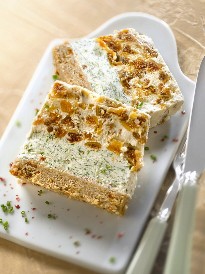 Brown bread and goat's cheese terrine