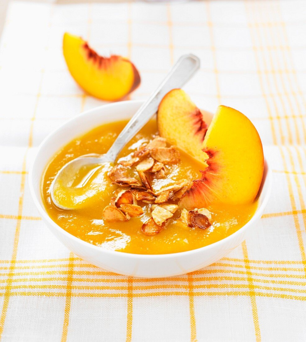 Peach compote with almonds