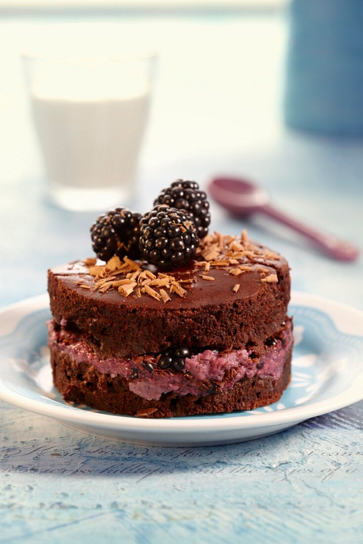 Chocolate fondant with blackberry mousse