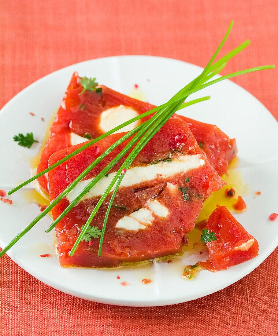 Tomato,Brousse and herb terrine