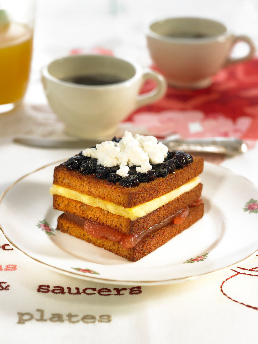 Sweet gingerbread and fruit sandwich