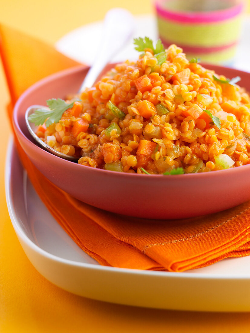Orange lentils with carrots