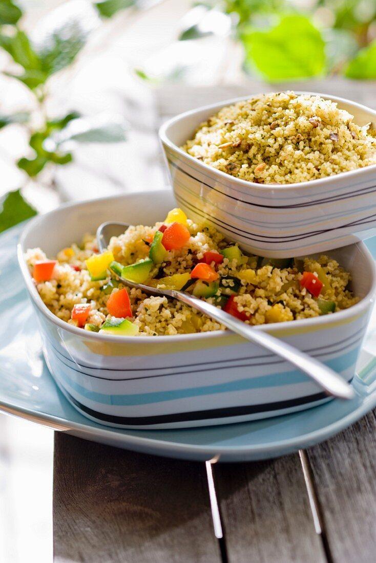 Bulghur salad and semolina salad