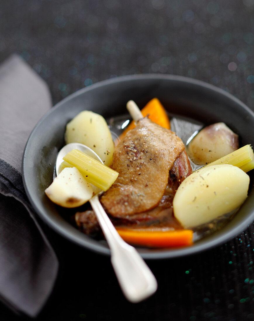 Duck confit stew