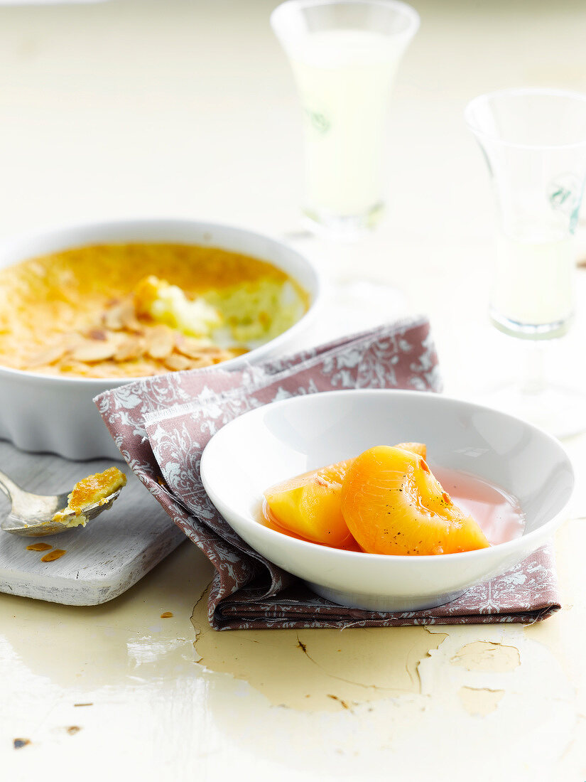 Almond, nectarine and limoncello flan
