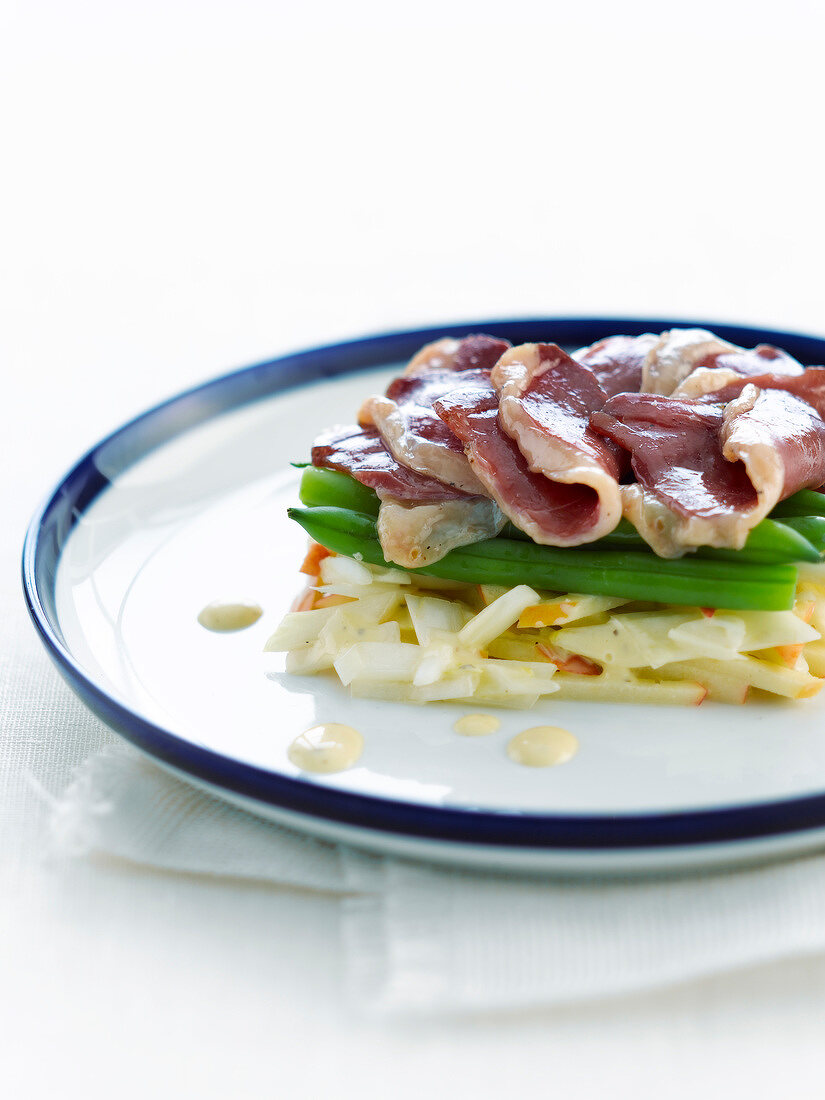 Fennel,apple,green bean and smoked duck magret salad