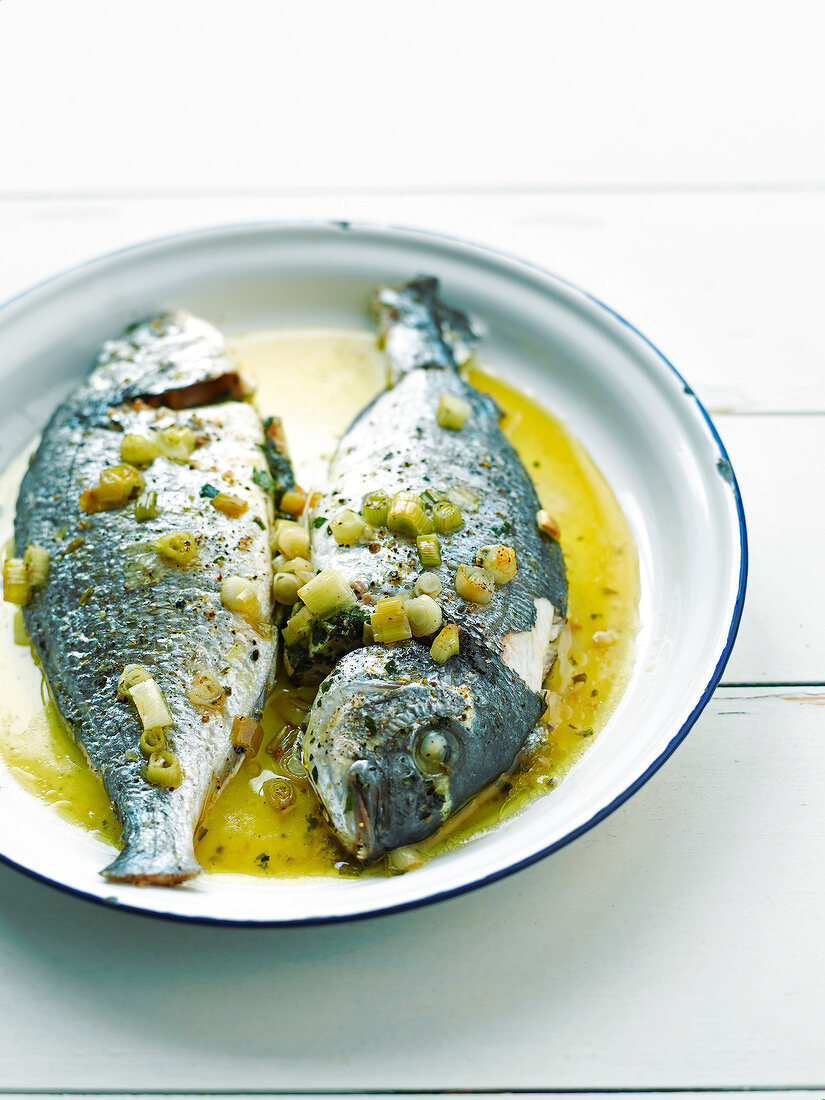 Bream with leek butter
