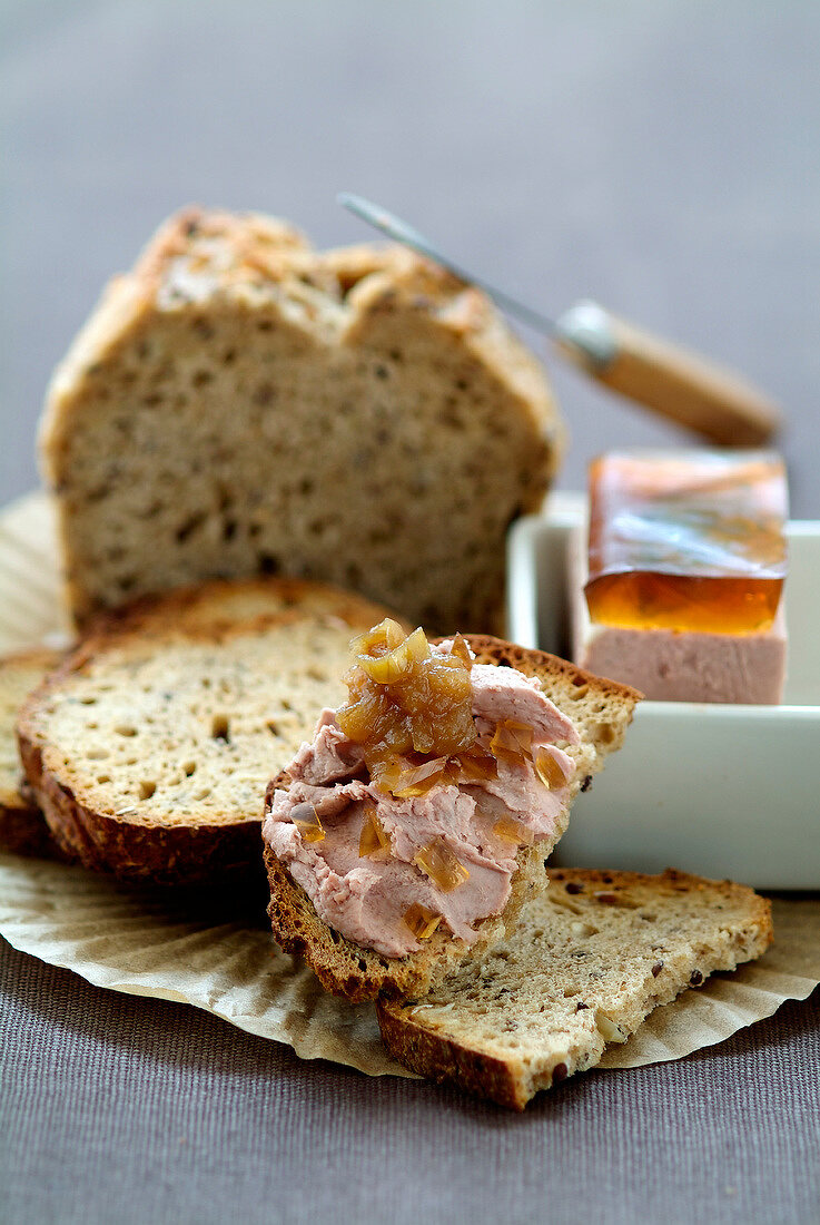 Chicken liver mousse on sliced bread
