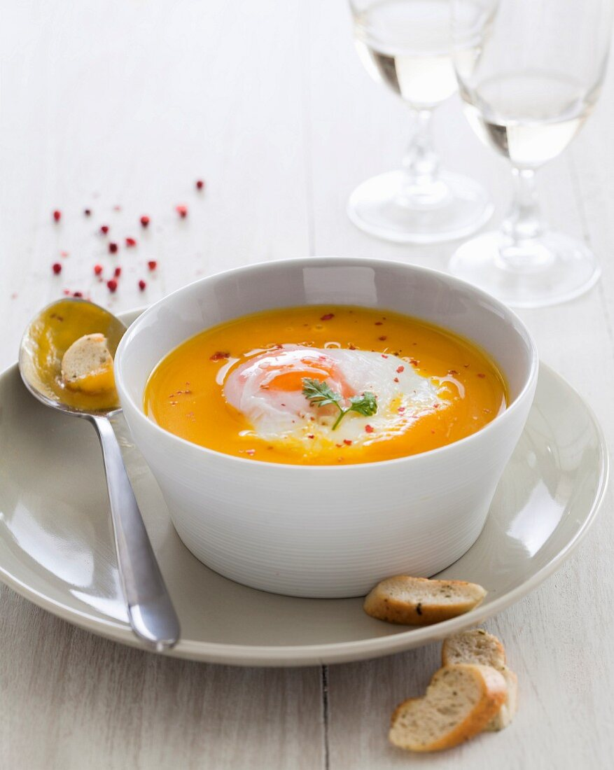 Pumpkin soup with a poached egg