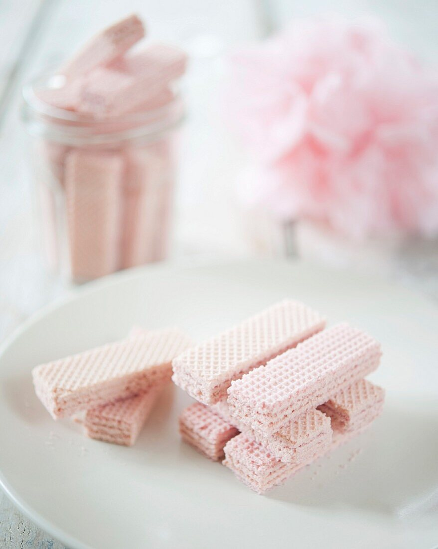 Pink waffle biscuits