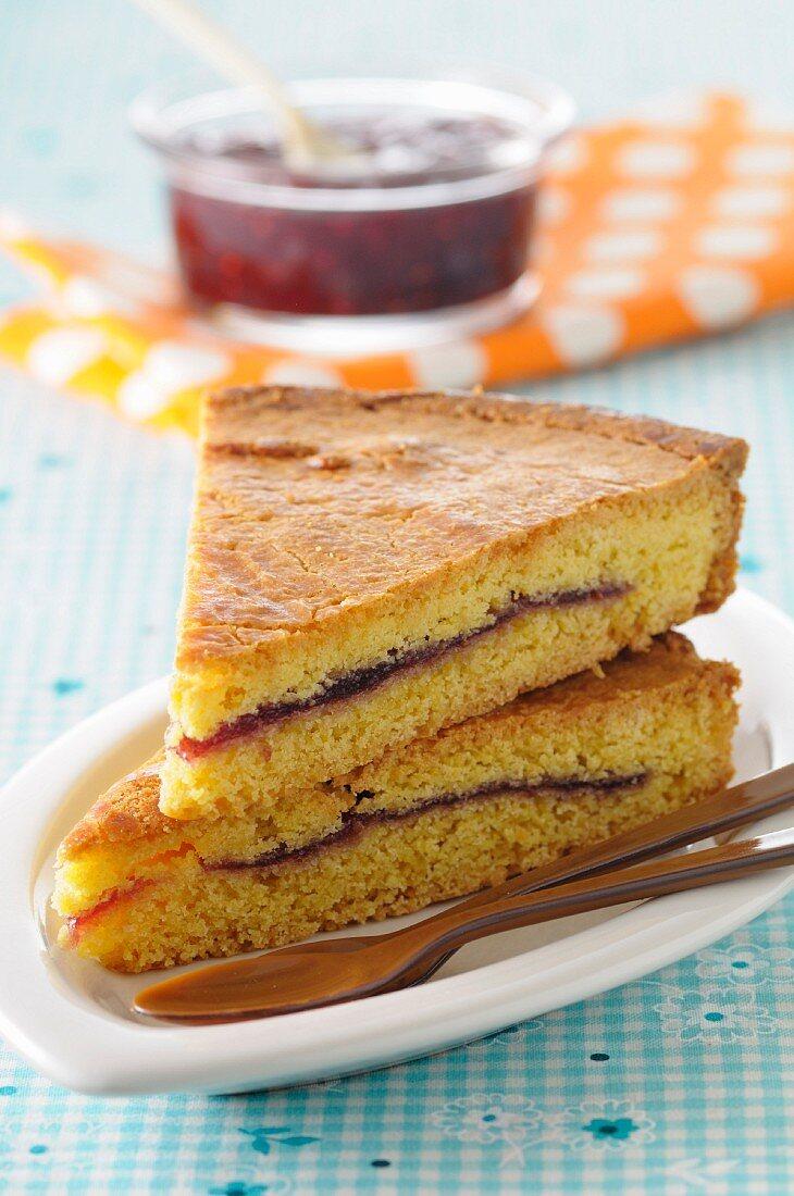 Slices of cherry jam Gateau Basques