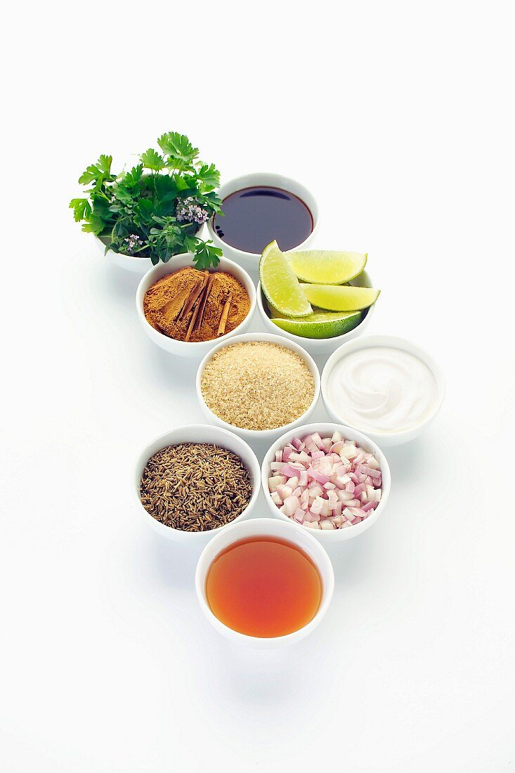 Bowls of spices and sauces